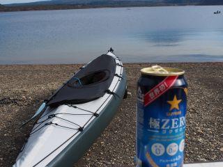 富士と本栖湖とカヤックとビール